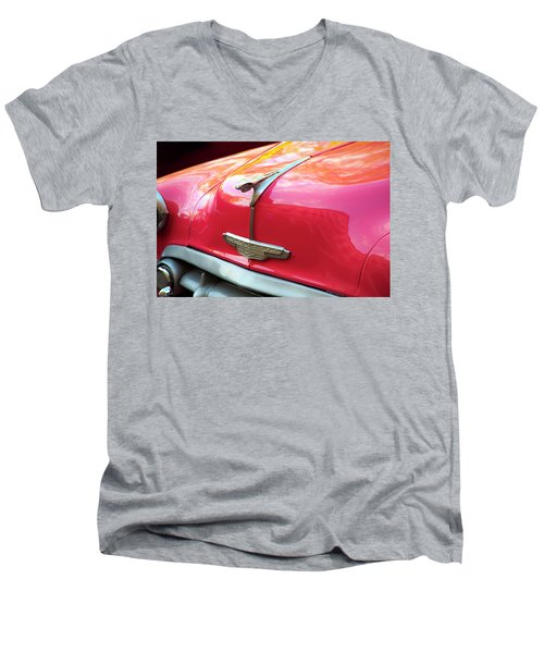 Men's V-Neck T-Shirt featuring the photograph Vintage Chevy Hood Ornament Havana Cuba by Charles Harden