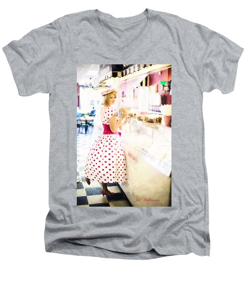 Vintage Val Ice Cream Parlor Men's V-Neck T-Shirt