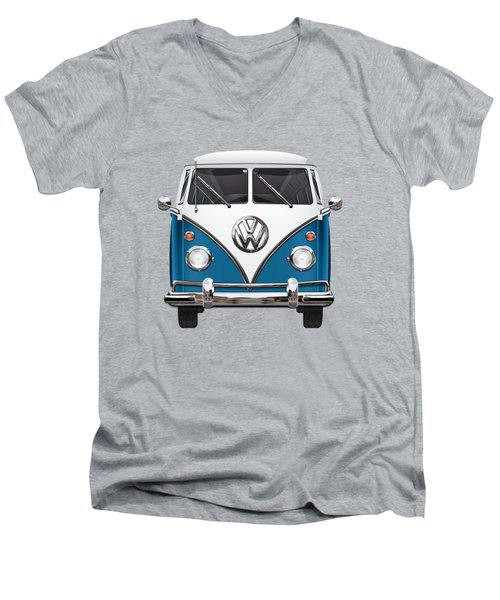 Volkswagen Type 2 - Blue And White Volkswagen T 1 Samba Bus Over Orange Canvas  Men's V-Neck T-Shirt