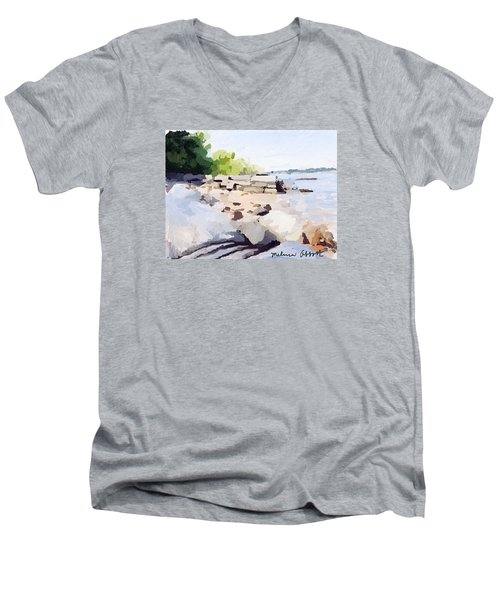 Wall And Beach At Ten Pound Island Men's V-Neck T-Shirt
