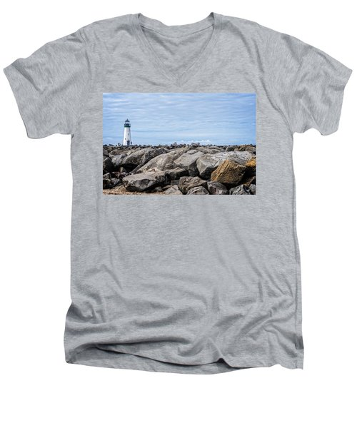 Walton Lighthouse Men's V-Neck T-Shirt by James Hammond