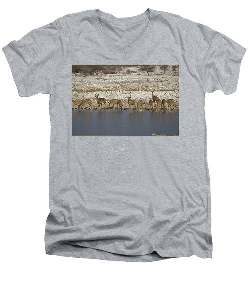 Men's V-Neck T-Shirt featuring the digital art Waterhole Kudu by Ernie Echols