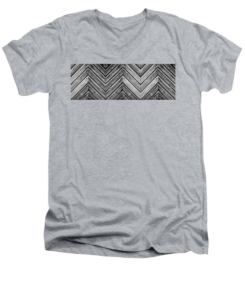 Men's V-Neck T-Shirt featuring the photograph Weathered Wood by Larry Carr
