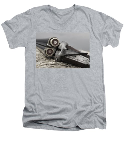 Webley And Scott 12 Gauge - D002721a Men's V-Neck T-Shirt