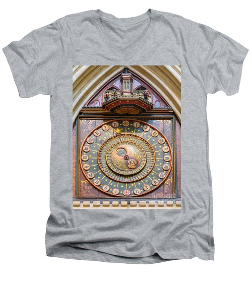 Wells Cathedral Clock Men's V-Neck T-Shirt by Colin Rayner