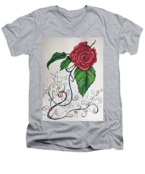 Whimsical Red Rose Men's V-Neck T-Shirt