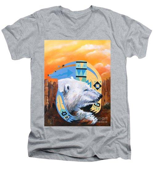White Bear Goes Southwest Men's V-Neck T-Shirt