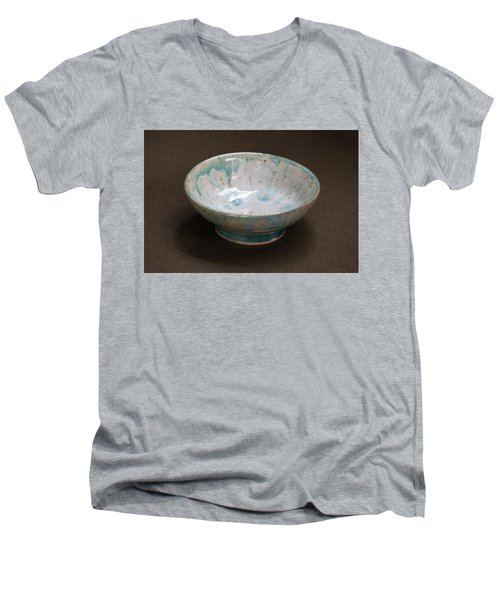 White Ceramic Bowl With Turquoise Blue Glaze Drips Men's V-Neck T-Shirt by Suzanne Gaff