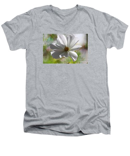 Men's V-Neck T-Shirt featuring the photograph White Cosmos by Yumi Johnson