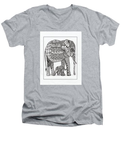 Men's V-Neck T-Shirt featuring the drawing White Elephant And Baby by Kathy Sheeran