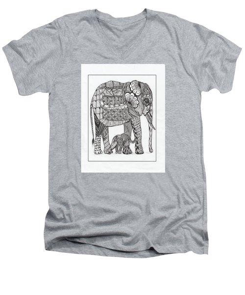 White Elephant And Baby Men's V-Neck T-Shirt by Kathy Sheeran