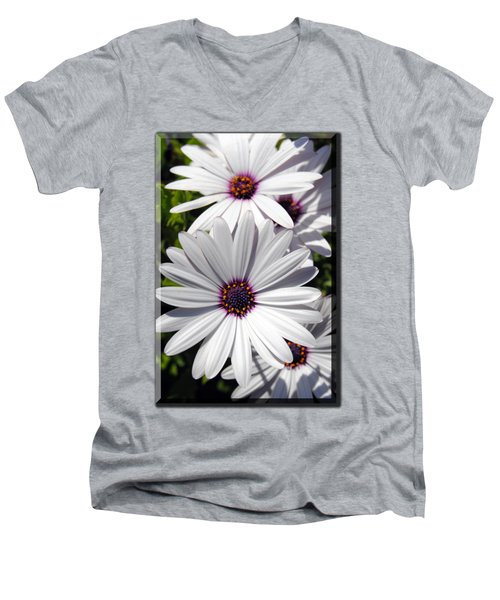 White Flower T-shirt Men's V-Neck T-Shirt by Isam Awad