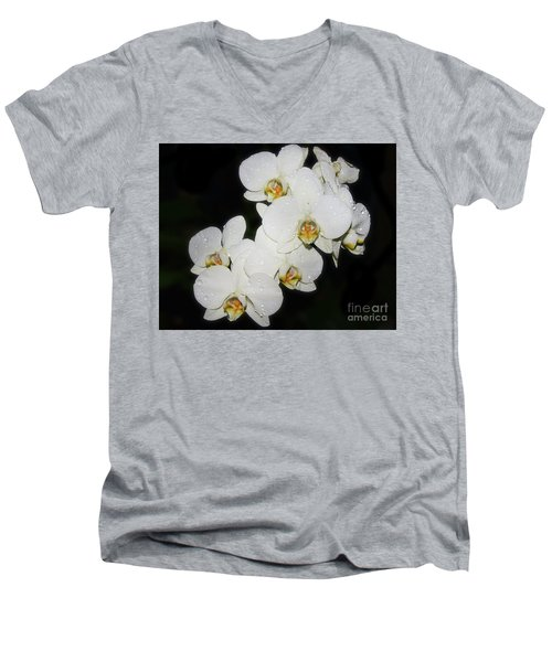 Men's V-Neck T-Shirt featuring the photograph White Orchid by Elvira Ladocki