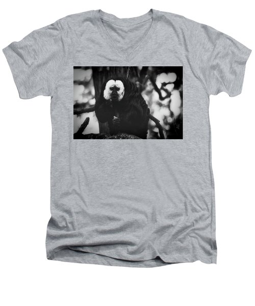 Men's V-Neck T-Shirt featuring the photograph White Saki by The 3 Cats