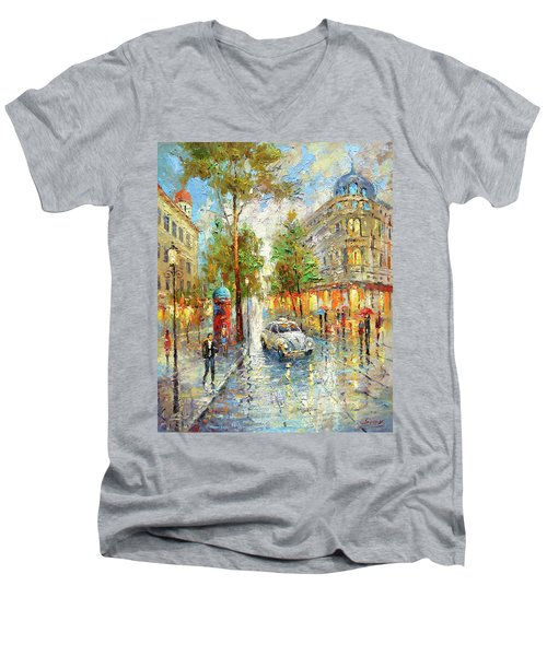 White Taxi Men's V-Neck T-Shirt by Dmitry Spiros