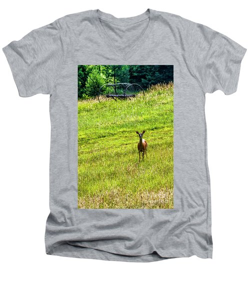 Men's V-Neck T-Shirt featuring the photograph Whitetail Deer And Hay Rake by Thomas R Fletcher