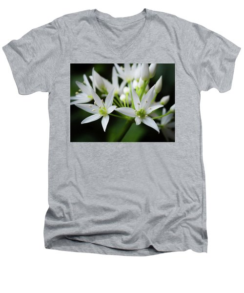 Men's V-Neck T-Shirt featuring the photograph Wild Garlic by Nick Bywater