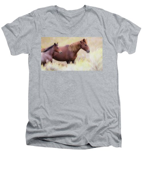 Men's V-Neck T-Shirt featuring the photograph Wild Horses  by Kelly Marquardt