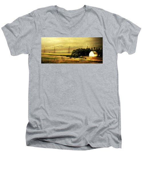 Men's V-Neck T-Shirt featuring the photograph Wind Turbines by Julie Hamilton