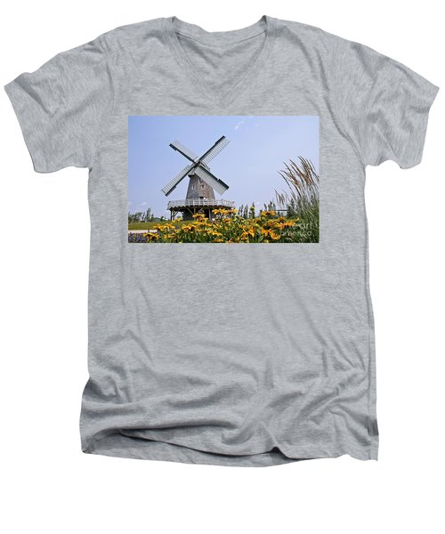 Windmill Men's V-Neck T-Shirt by Teresa Zieba
