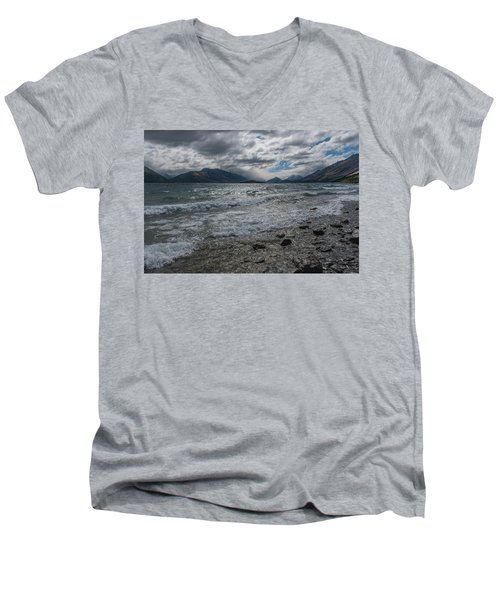 Men's V-Neck T-Shirt featuring the photograph Windy Day On Lake Wakatipu by Gary Eason