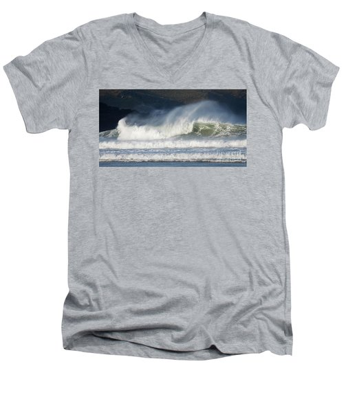 Men's V-Neck T-Shirt featuring the photograph Windy Seas In Cornwall by Nicholas Burningham