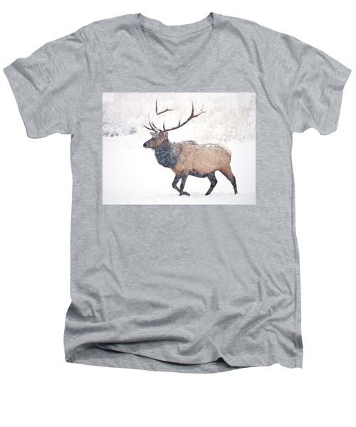 Men's V-Neck T-Shirt featuring the photograph Winter Bull by Mike Dawson