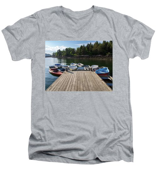 Men's V-Neck T-Shirt featuring the photograph Winter Harbor Maine  by Trace Kittrell