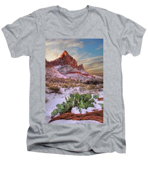 Winter In Zion National Park Utah Men's V-Neck T-Shirt