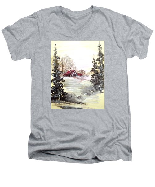 Men's V-Neck T-Shirt featuring the painting Winter Landscape by Dorothy Maier