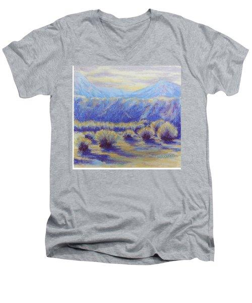 Winter Morning Riverbend Men's V-Neck T-Shirt by Becky Chappell