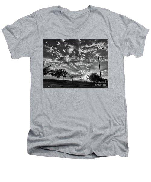 Winter Sunset Men's V-Neck T-Shirt by Arik Baltinester