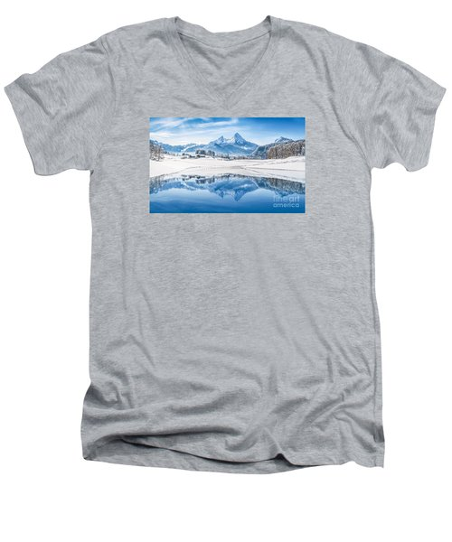 Winter Wonderland In The Alps Men's V-Neck T-Shirt by JR Photography