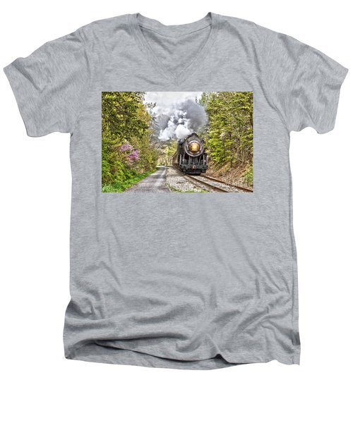 Wmsr Steam Engine 734  Men's V-Neck T-Shirt by Jeannette Hunt