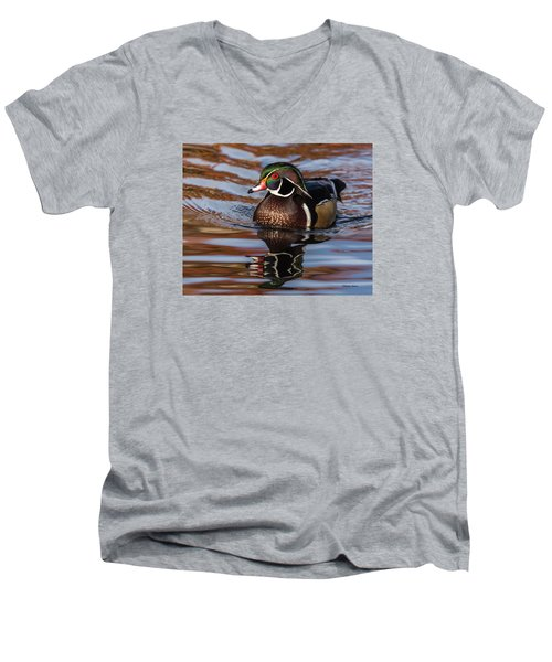 Men's V-Neck T-Shirt featuring the photograph Wood Duck Reflections by Stephen Johnson
