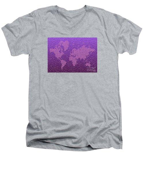 World Map Kotak In Purple Men's V-Neck T-Shirt