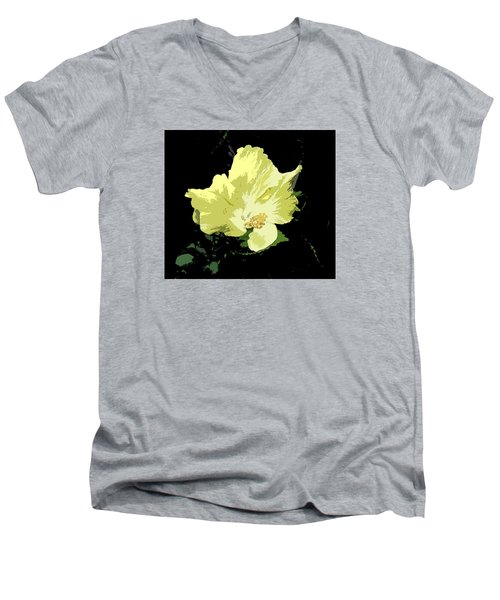 Men's V-Neck T-Shirt featuring the digital art Yellow Beauty by Karen Nicholson