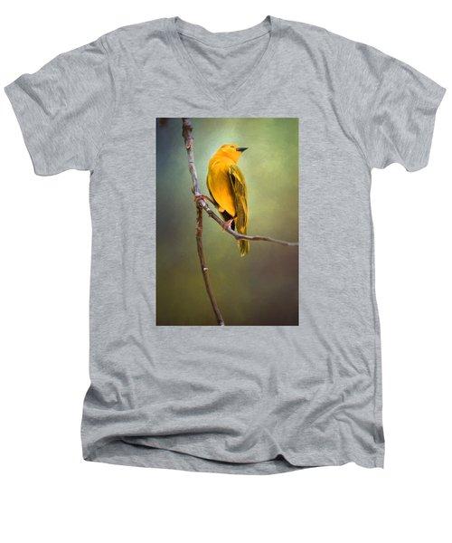 Yellow Bird Men's V-Neck T-Shirt by David and Carol Kelly