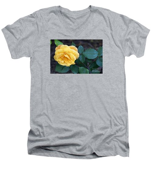 Men's V-Neck T-Shirt featuring the painting Yellow Rose by Debra Crank