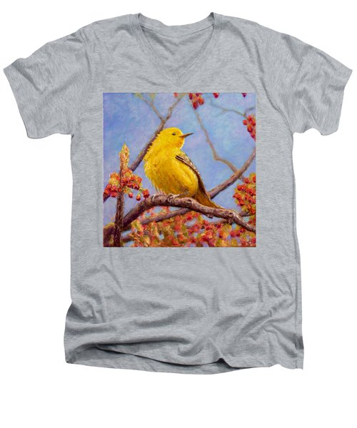 Men's V-Neck T-Shirt featuring the painting Yellow Warbler by Joe Bergholm