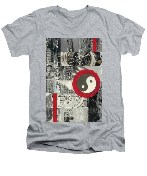 Men's V-Neck T-Shirt featuring the mixed media Ying Yang by Desiree Paquette