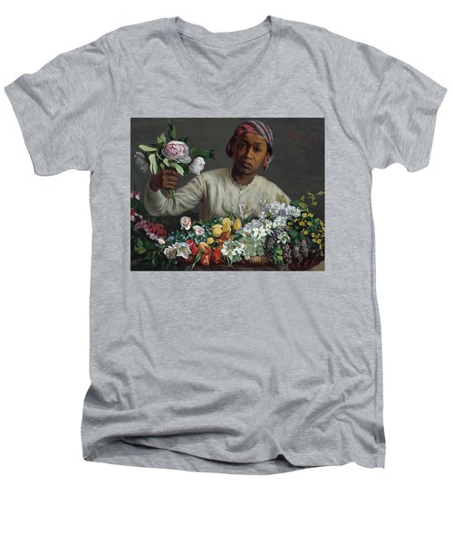 Young Woman With Peonies Men's V-Neck T-Shirt