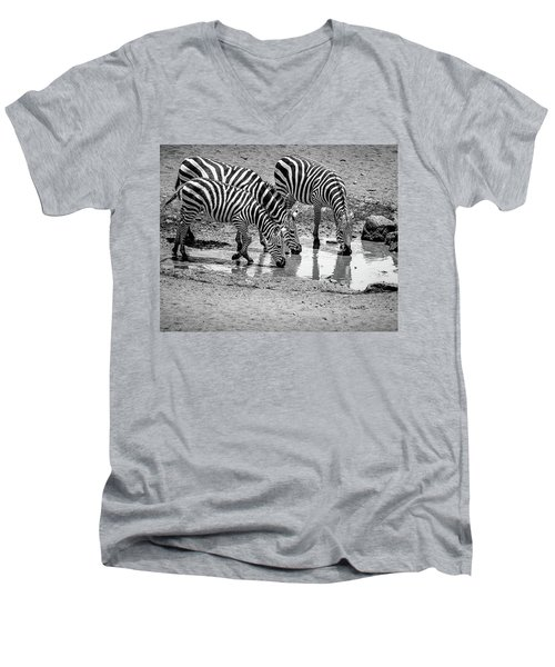 Zebras At The Watering Hole Men's V-Neck T-Shirt by Marion McCristall