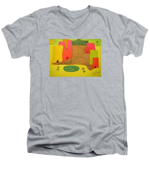 10 Flat Buildings With Fish Pool Men's V-Neck T-Shirt