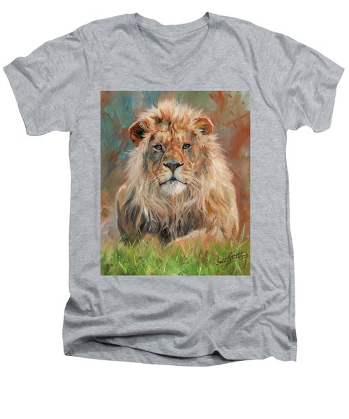 Men's V-Neck T-Shirt featuring the painting Lion by David Stribbling