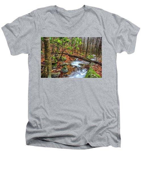 Men's V-Neck T-Shirt featuring the photograph Little Laurel Branch by Thomas R Fletcher