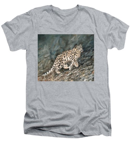 Men's V-Neck T-Shirt featuring the painting Snow Leopard by David Stribbling