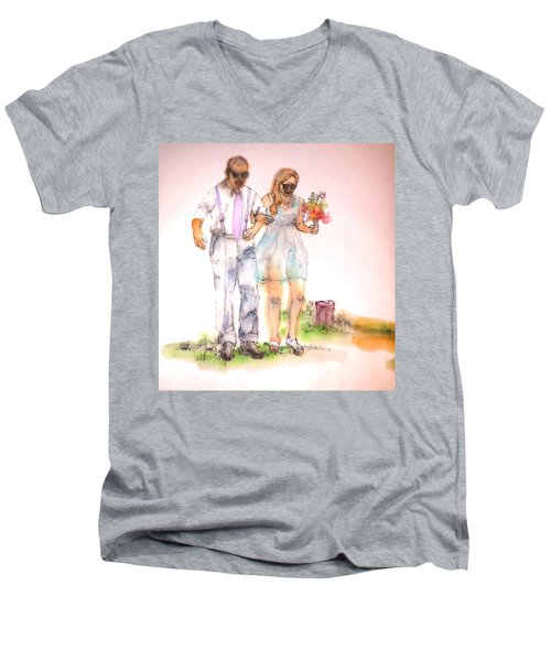 The Wedding Album  Men's V-Neck T-Shirt by Debbi Saccomanno Chan