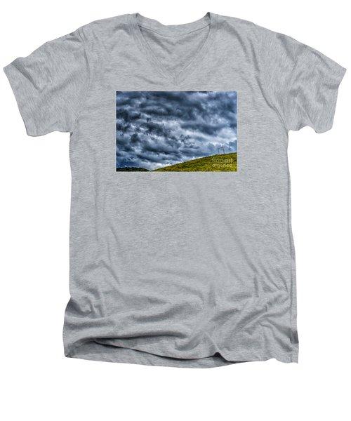 Three Crosses On Hill Men's V-Neck T-Shirt by Thomas R Fletcher