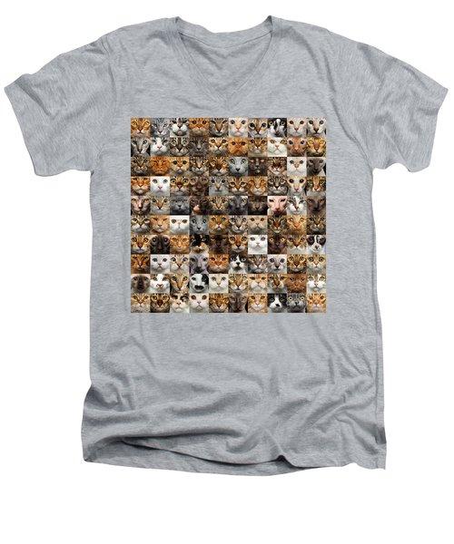 100 Cat Faces Men's V-Neck T-Shirt
